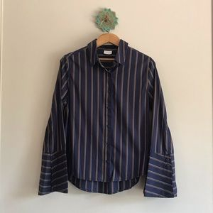 Striped bell sleeve button-down shirt, size M